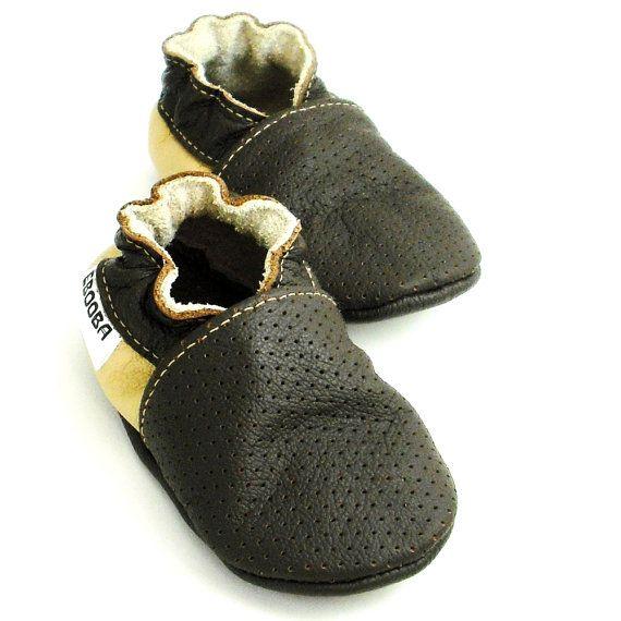 soft sole baby shoes infant handmade dark brown beige 0 6 bebes garcon  fille cuir souple chaussons Krabbelschuhe porter ebooba OT-10-DB-T-1
