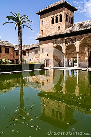 Building with pool and palm tree at the historic site of the Alhambra in spain