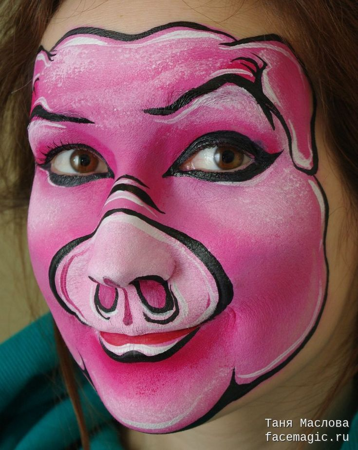 The pig. Face paint by Tanya Maslova. -Squealer, & different shade of pink for snowball