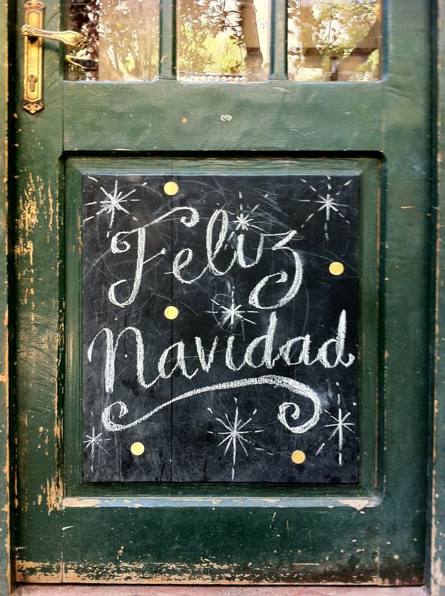 Feliz Navidad - Christmas front door - chalk on black paint!
