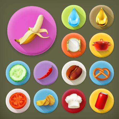 FREE - Various dessert and food flat icons vector 03 - Food Icons free download