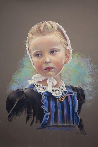 Rozenn, petite Bretonne Pastel 36 x 48 cm by Monika.g