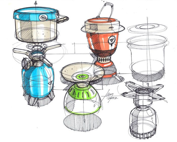 Sketches of Camping Stoves BY Designer Spencer Nugent