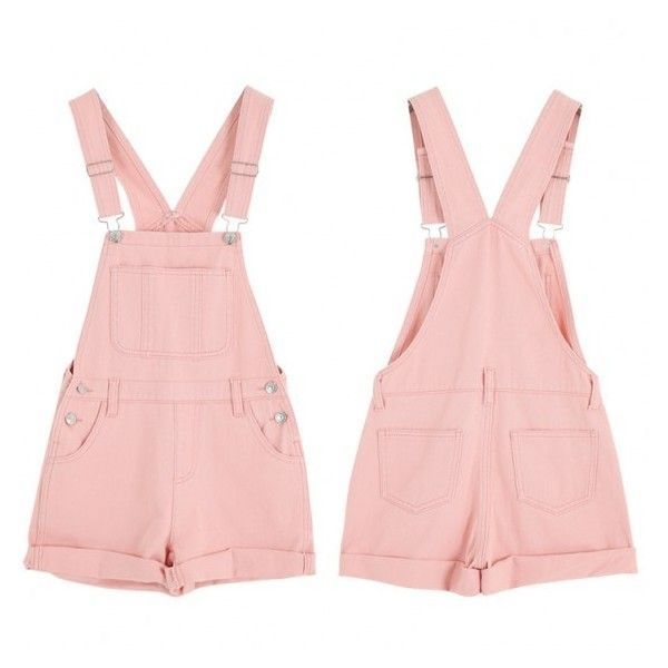 Cute Summer Denim Jumpsuit ❤ liked on Polyvore featuring jumpsuits, jump suit, denim jumpsuit, pink jumpsuit and summer jumpsuits