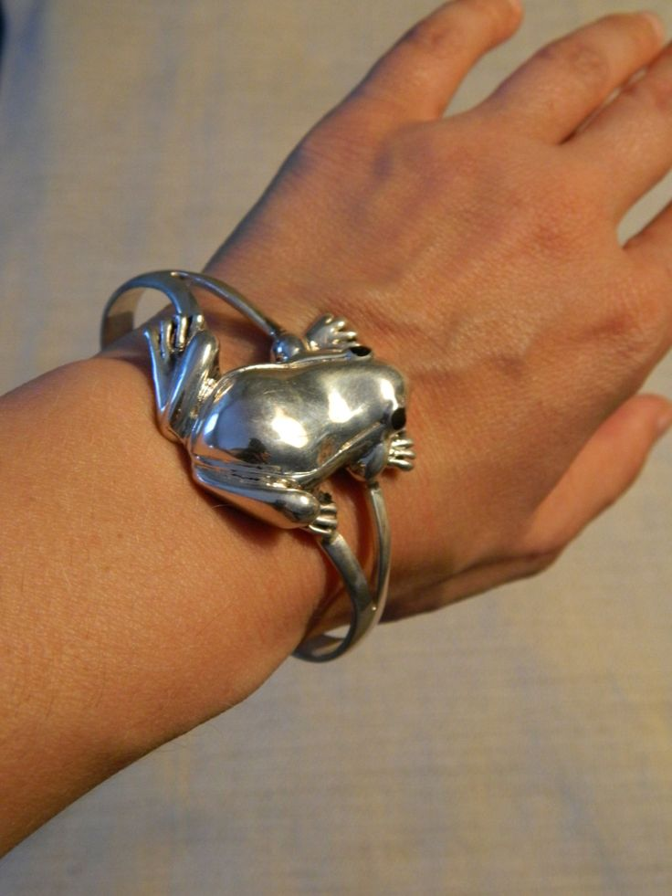 Awesome Hand Made Sterling Silver Frog Cuff by JewelryNerdsJewelry, $145.00