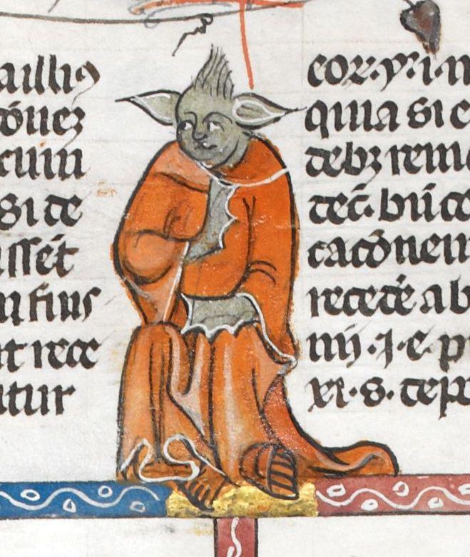 Master Yoda was actually created 700 years ago (@BLMedieval, Royal MS 10 E IV, c. 1300-40) #StarWarsTheForceAwakens
