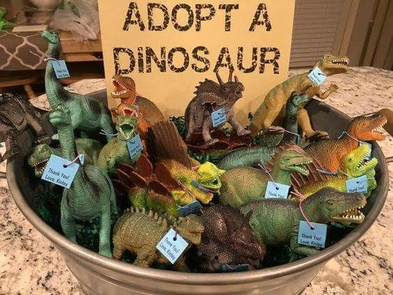 Cute dinosaur adoption party favor / game idea!