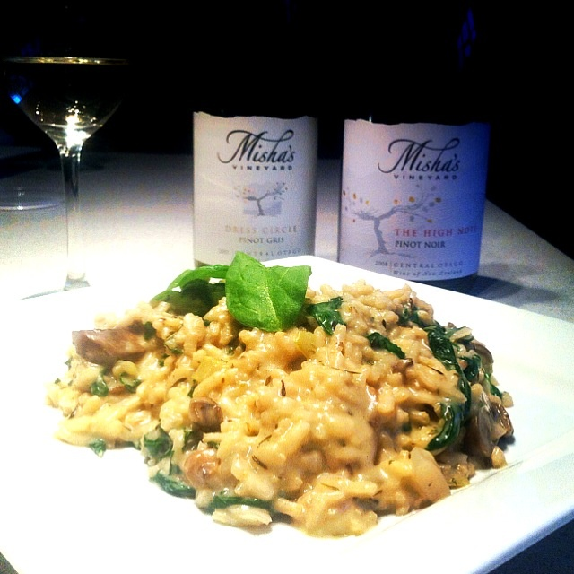 Amazing mushroom, spinach and chorizo risotto served with amazing Misha's wine (Central Otago, NZ). Made by the famous Nick M. (must be time for another dinner surely?!)