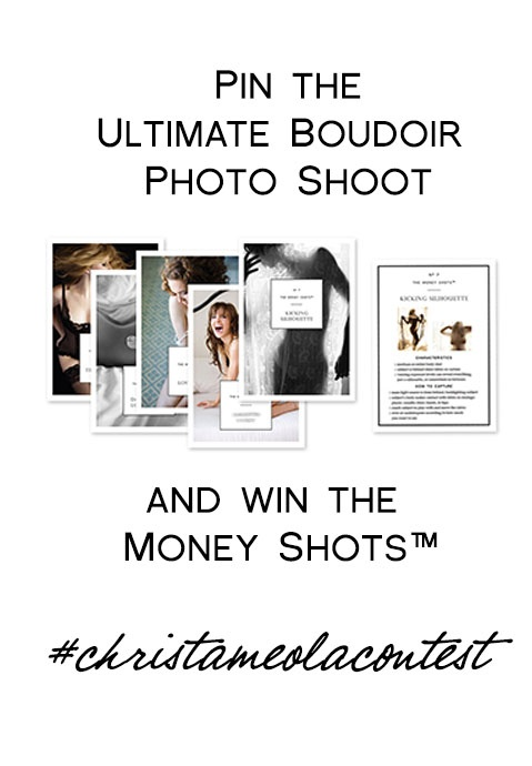 I'm giving away copies of The Money Shots to two people who create create the best and the most popular Ultimate Boudoir Photoshoot pinboard using content from christameola.com and around the web.