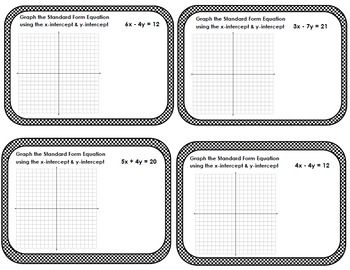 Linear Equations Standard Form Graphing Intercepts Task