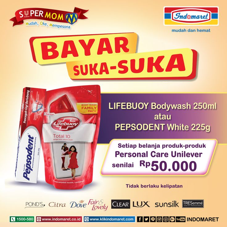 Dapatkan # Promo Bayar Suka - Suka !! Setiap Belanja Senilai Rp 50.000 untuk Produk - Produk Personal Care Unilever * Syarat Ketentuan Berlaku*