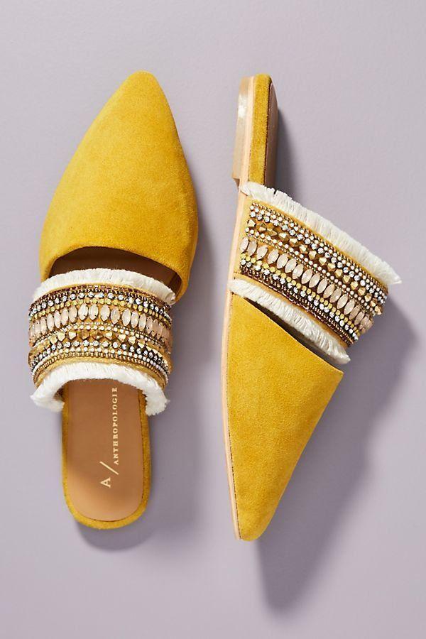 Anthropologie Delilah Embellished Slides   – Shoes