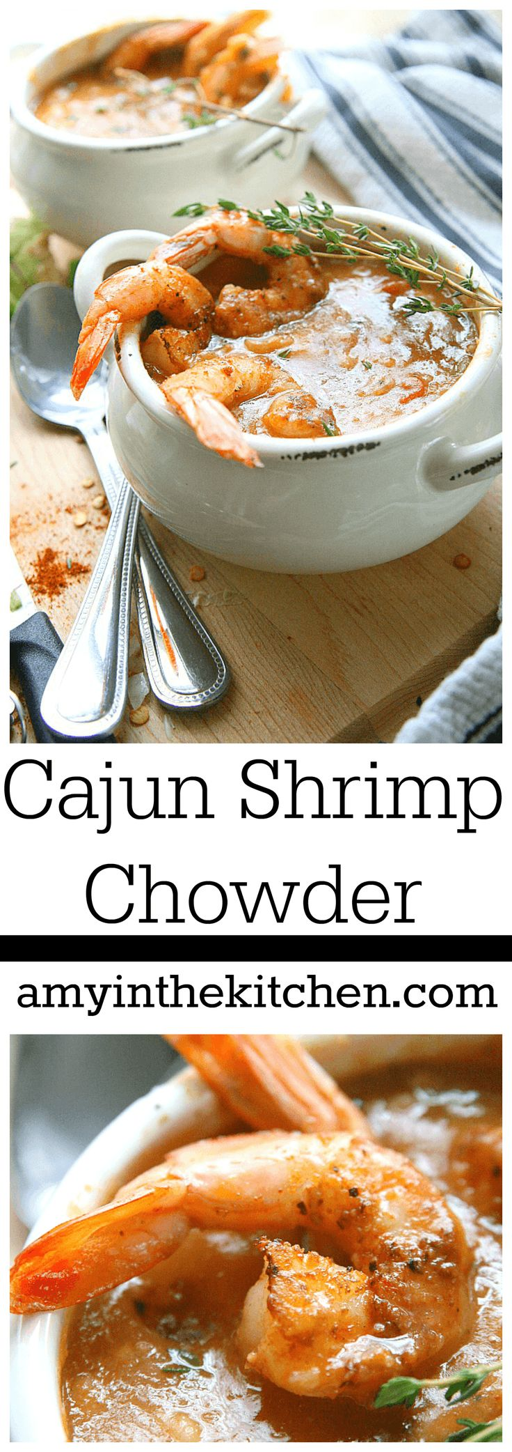 Cajun Shrimp Chowder _ is Louisiana comfort food at it's finest! With big juicy blackened shrimp in a smokey corn & potato chowder….. It's the perfect choice for a cool fall evening.