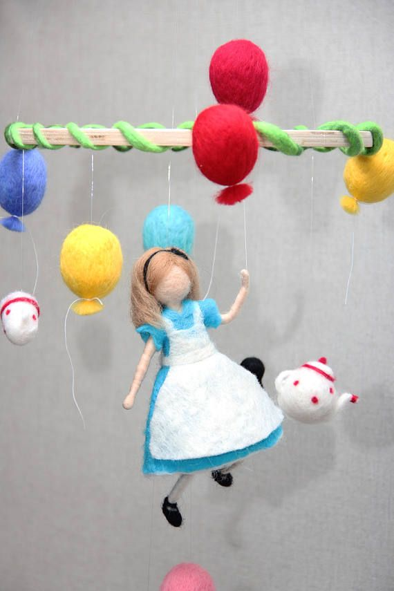 Children Mobile: Alice in Wonderland. Wool hand made Needle