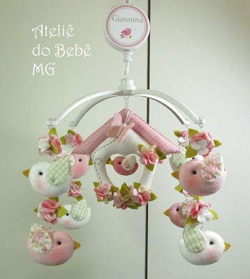 Ateliê do Bebê MG: Móbile Musical Pássaros  ( Giovanna )