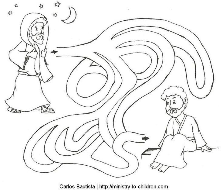 Nicodemus Seeks Jesus Coloring Page Maze