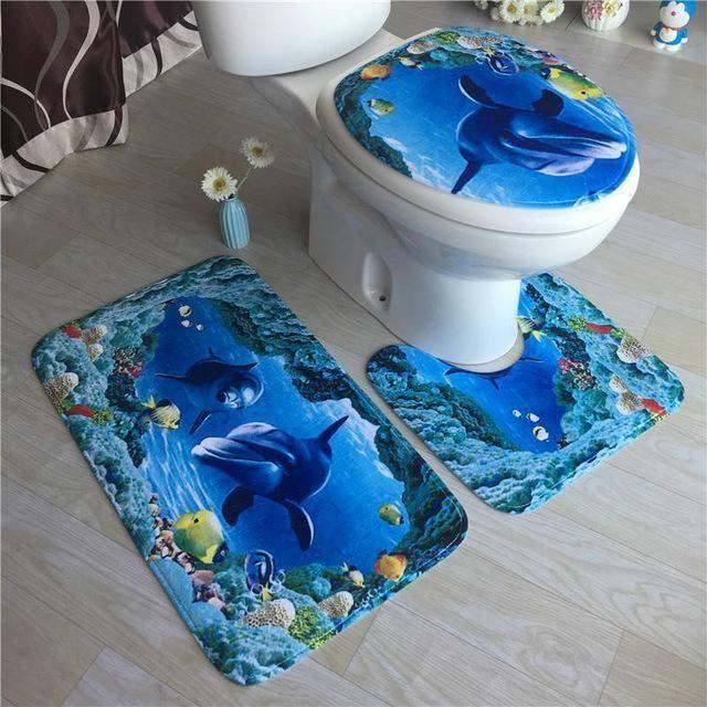 High Grade Carpet Flannel Three Pieces Of Toilet Cover Bathroom