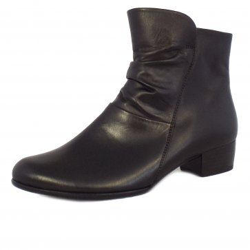 Gabor Jensen, ladies black leather ankle boots with slouch detail front and  comfortable low block heel. Free UK delivery from Mozimo.