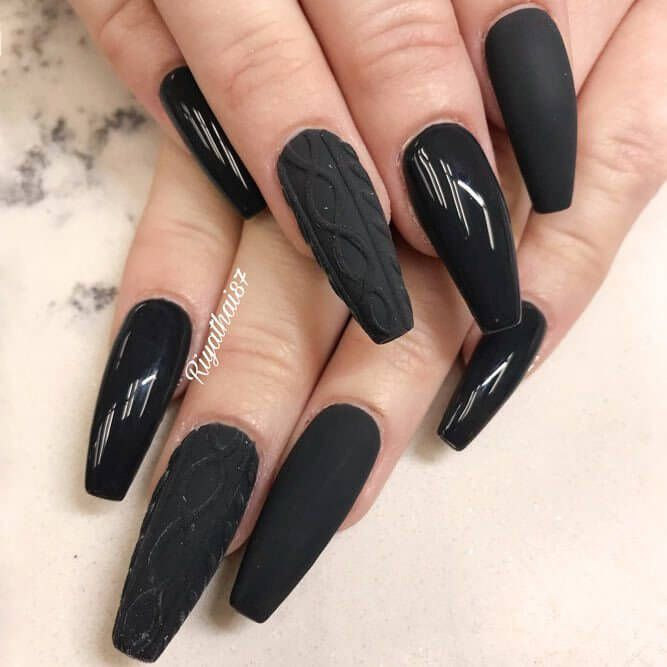 50 Dramatic Black Acrylic Nail Designs To Keep Your Style On Point Sweater Nails Black Acrylic Nails Ballerina Nails Shape