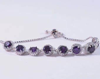 925 sterling silver bracelet, turkish handmade bracelet, purple zircon stone sterling silver bracelet, white cubic zircon , gift for her -    Edit Listing  - Etsy