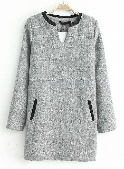 Vestido recto Tweed cuello pico manga larga-Gris claro EUR€24.12