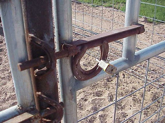 Love the horseshoes for the gate hook.
