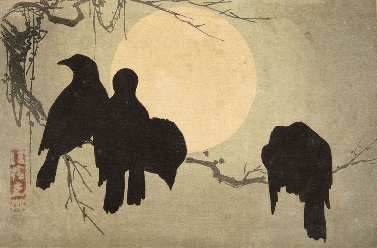 Study looking at how the crow family help and stick with each other. Ogata Korin crows and moon block print.