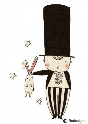 Postkaart goochelaar http://www.bodesigns.be/ kaartjes, juwelen ...
