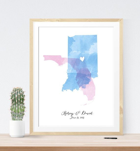 Custom Wedding Map with watercolor wedding sign by MDBWeddings