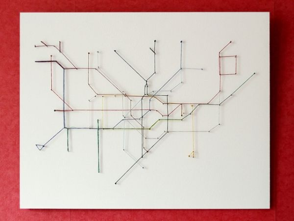 London Underground map made from string string public transportation maps