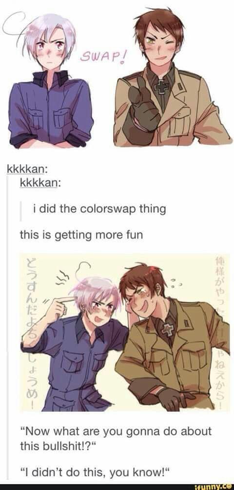 Hetalia, Romano, Prussia, Colorswap