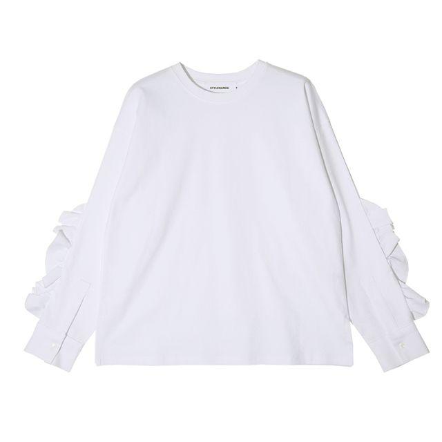 ラッフルフリルシャツ風スリットTシャツ | レディース・ガ…