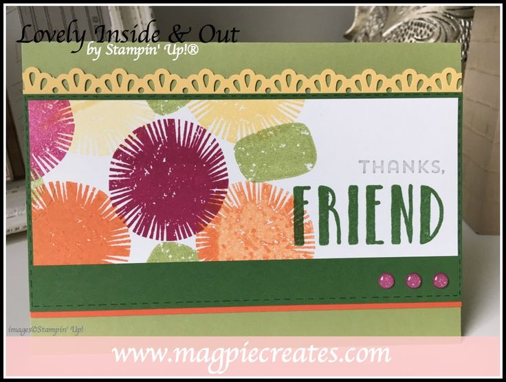 Lovely Inside & Out by Stampin' Up!.  Card desigend by Sharlene Meyer for the Colour Your World Blog Ho.  www.magpiecreates.com