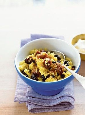 Sweet couscous with juice and dried fruit