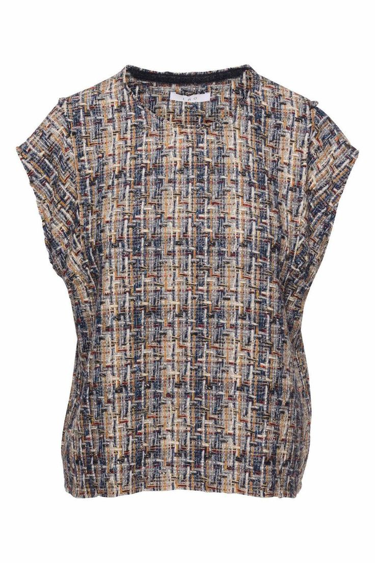 IRO Eline Top in Multi Blue Navy features a yarn work appeal that has raw hems. This top has a boxy fit and is very structured. Pairs well with work pants, oxfords, and a brimmed hat.   Eline Top Multi by IRO. Clothing - Tops - Short Sleeve Nevada