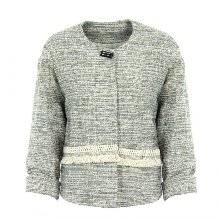 vest tweed zw/wit
