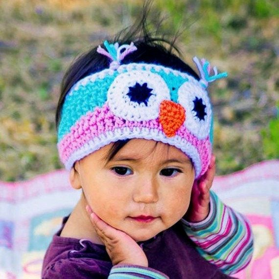 Crochet owl headband, ear warmer - pink, turquoise - infant - toddler - pre-teen - accessories handmade Back To School Sandy Coastal Designs.