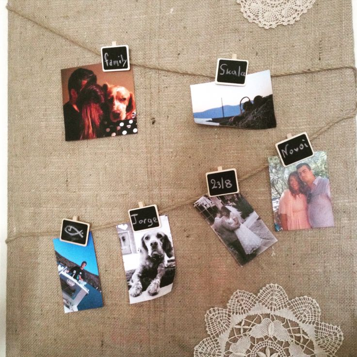 Canvas, burlap, hanged photos, chalkboard labels...