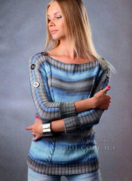 пуловер из секционно-окрашенной пряжи