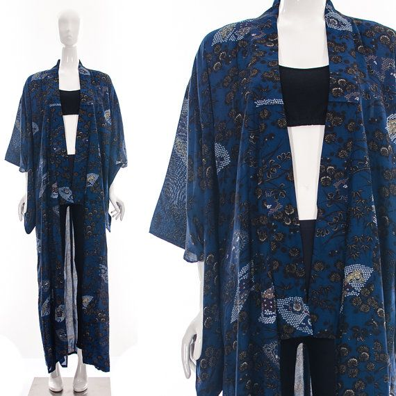 Vtg Antique Asian Japanese INDIGO KIMONO Floral Motif Minimalist Bohemian Duster Coat OS on Etsy, $115.00