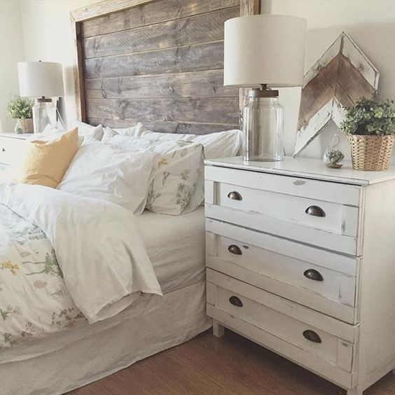 Wooden Headboard White Bedside Table White Bed Linen Classic Country Bedroom Farmhouse Bedroom Decor Home Bedroom Rustic Master Bedroom