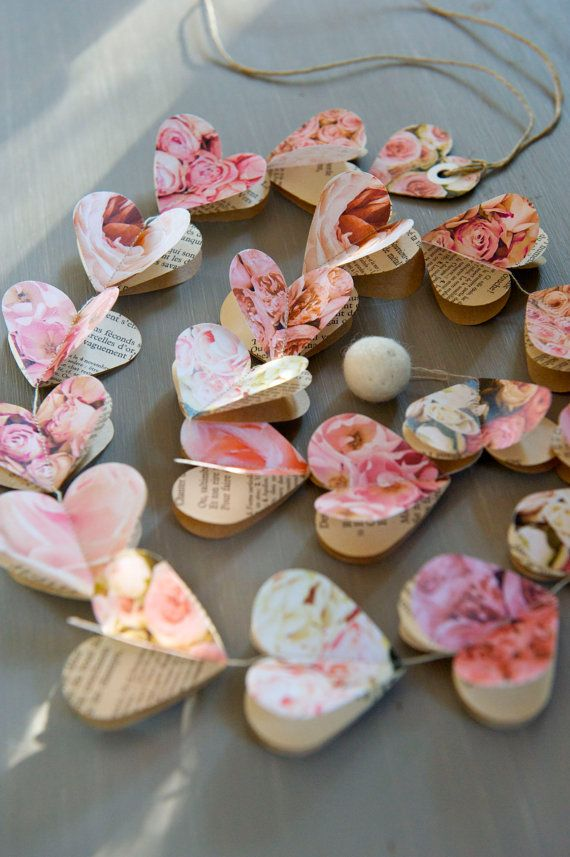 Paper hearts garlands PINK ROSES Hearts paper garland by LaMiaCasa