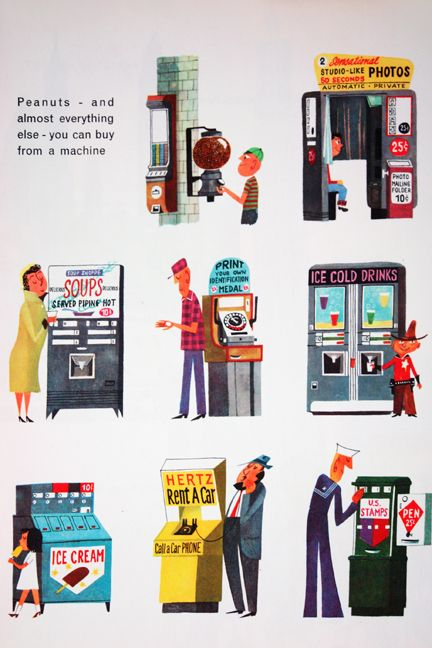 "illustrations from ""This is... New York"" showing various types of vending machines by Miroslav Sasek (1960)"