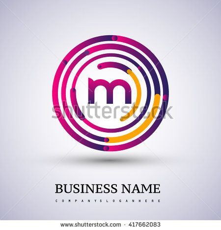 Letter M vector logo symbol in the colorful circle thin line. Vector design template elements for your application or company identity. - stock vector