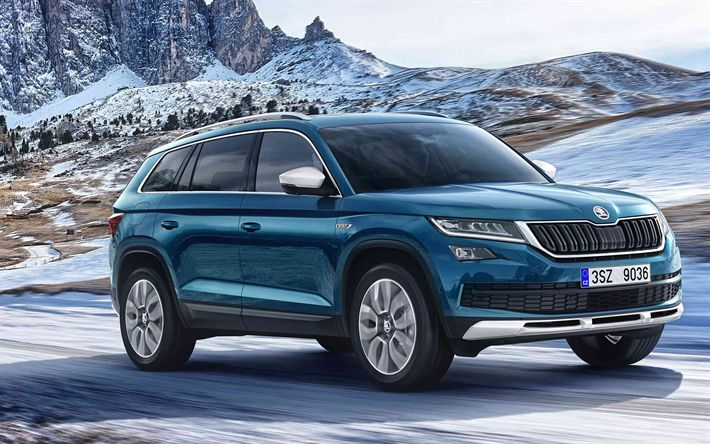 Download wallpapers Skoda Kodiaq Scout, 2018, 4k, new cars, Kodiaq  special version, blue Kodiaq, Czech cars, Skoda