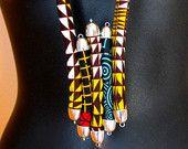 Items op Etsy die op Touw sieraden, afdrukken touw doek ketting lagen Afrikaanse weefsel, ankara print Afrikaanse fashion ketting., op maat gemaakt. lijken