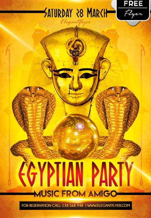 Egyptian Party Free PSD Flyer Template - http://freepsdflyer.com/egyptian-party-free-psd-flyer-template/ Enjoy downloading the Egyptian Party Free PSD Flyer Template by Elegantflyer!  #Club, #Egyptian, #Event, #Gold, #Party, #Theme