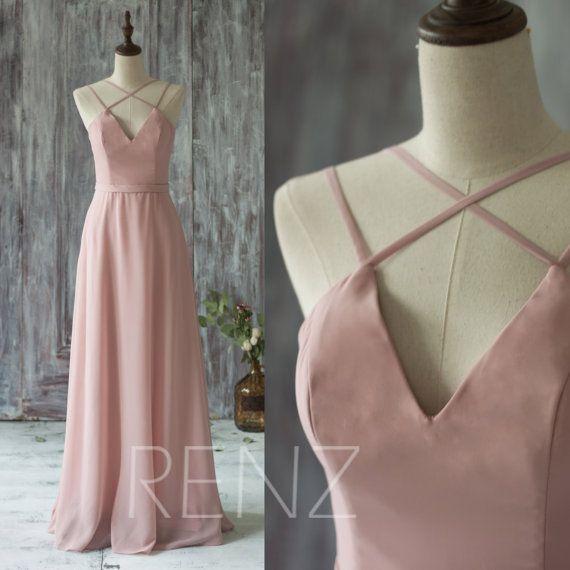 2016 Long Chiffon Bridesmaid Dress Straps, Dusty Thistle Wedding Dress, V Neck Spaghetti Strap Prom Dress, Evening Gown Floor Length (T159)