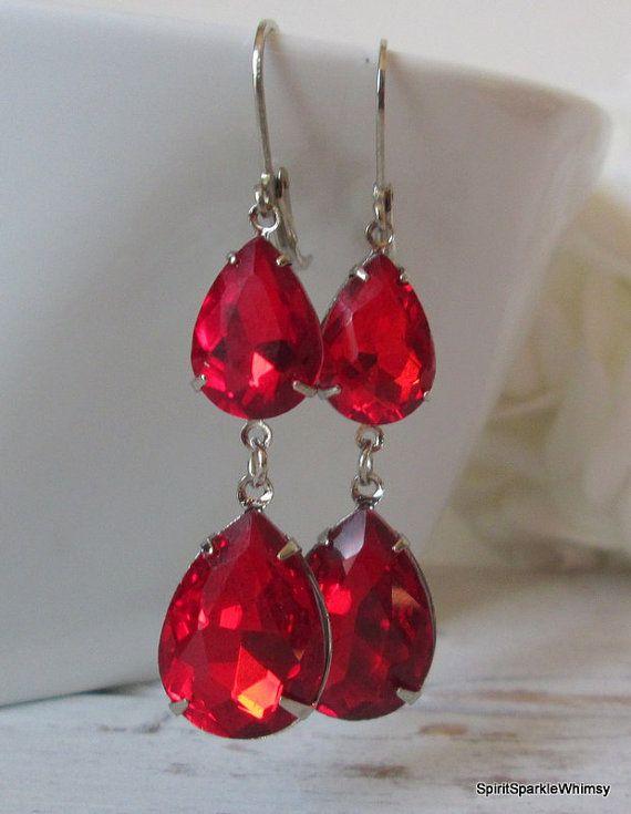 Red Rhinestone Earring, Red Earring, Ruby Earring, Garnet Earring, Rhinestone…