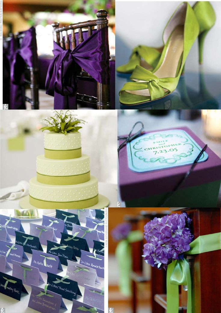 Lime/light green and cadbury purple are the colours for our wedding, along with white and silver (braid on Wake's jacket and rings).